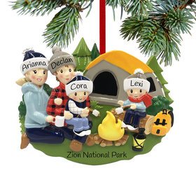 Personalized Camp Fire Family of 4 Christmas Ornament