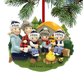 Personalized Camp Fire Family of 5 Christmas Ornament