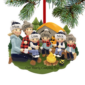 Personalized Camp Fire Family of 6 Christmas Ornament