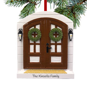 Personalized Farm House Front Door Christmas Ornament