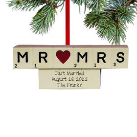 Personalized Letter Board Mr and Mrs Christmas Ornament