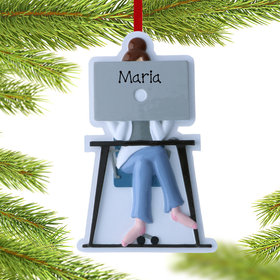 Personalized Female Work From Home Christmas Ornament