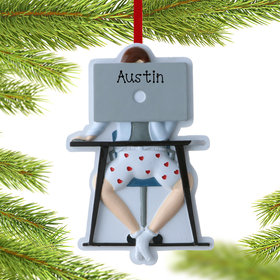 Personalized Male Work From Home Christmas Ornament