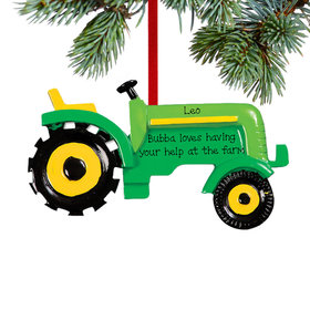 Personalized Green Tractor Christmas Ornament