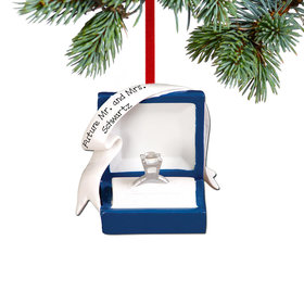 Personalized Blue Engagement Ring Box Christmas Ornament
