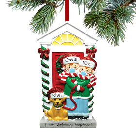 Personalized Social Distance Couple with Dog Christmas Ornament