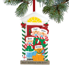 Personalized Social Distance Family of 3 with Dog Christmas Ornament