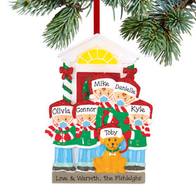 Personalized Social Distance Family of 5 with Dog Christmas Ornament