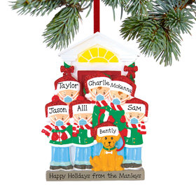 Personalized Social Distance Family of 6 with Dog Christmas Ornament
