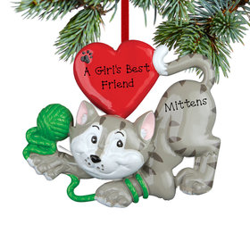Personalized Grey Cat with Yarn Christmas Ornament