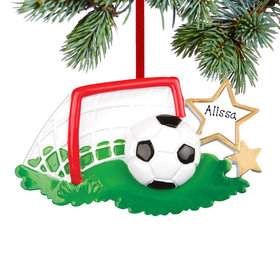 Personalized Soccer Ball and Goal Christmas Ornament