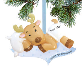 Personalized Baby Boy's First Christmas Reindeer Christmas Ornament