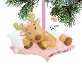 Personalized Baby Girl's First Christmas Reindeer Christmas Ornament