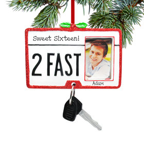 Personalized 2 Fast Driver's License Christmas Ornament