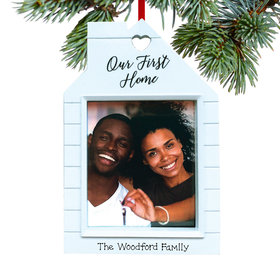 Personalized Our First Home Picture Frame Christmas Ornament