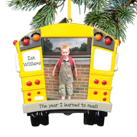 Personalized School Bus Picture Frame Christmas Ornament