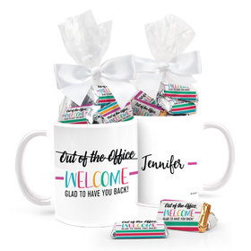Personalized Rainbow Welcome Back 11oz Mug with approx. 24 Wrapped Hershey's Miniatures