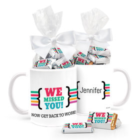 Personalized We Missed You 11oz Mug with approx. 24 Wrapped Hershey's Miniatures