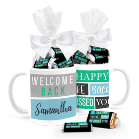Personalized Happy Blocks 11oz Mug with approx. 24 Wrapped Hershey's Miniatures