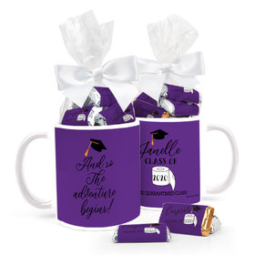 Personalized Quarantine Graduation Adventure Begins 11oz Mug with approx. 24 Wrapped Hershey's Miniatures