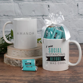 Personalized Social Distancing 11oz Mug with approx. 24 Wrapped Hershey's Miniatures