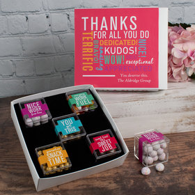 Personalized Thank You Care Package Premium Gift Box with 5 JUST CANDY® favor cubes