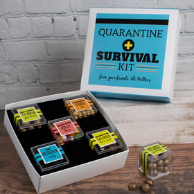 Personalized Quarantine Survival Kit Care Package Premium Gift Box with 5 JUST CANDY® favor cubes