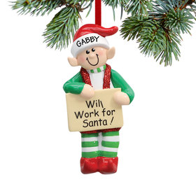 Personalized Santa Elf Christmas Ornament