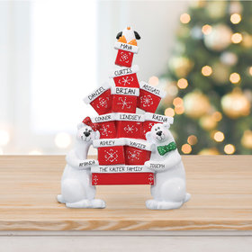 Personalized Polar Bear Presents Tabletop Christmas Ornament