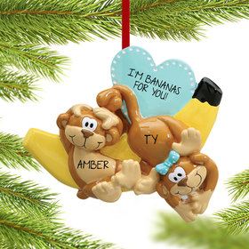 Personalized Silly Monkey Couple with Banana Christmas Ornament