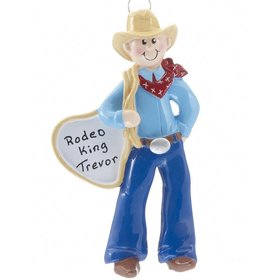 Personalized Cowboy with Bandana Christmas Ornament