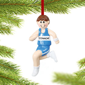 Personalized Runner Boy Christmas Ornament