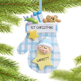 Personalized Baby Mitten Blue Christmas Ornament