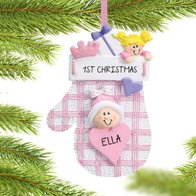Personalized Baby Mitten Pink Christmas Ornament