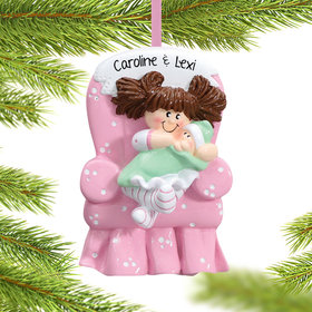 Personalized Big Sister with Baby in Pink Armchair Christmas Ornament