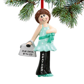 Personalized Pregnant Mom with Baby Bump Christmas Ornament