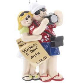 Personalized Personalized Travel Couple with Itinerary and Camera Christmas Ornament