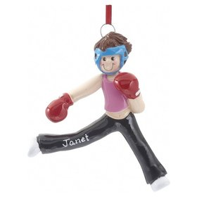 Personalized Kickboxing Girl Christmas Ornament