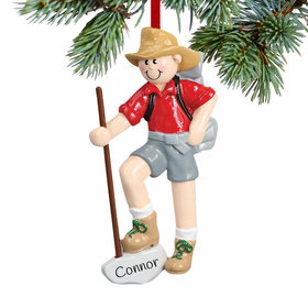 Personalized Male Hiker with Walking Stick Christmas Ornament
