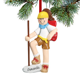 Personalized Female Hiker with Walking Stick Christmas Ornament