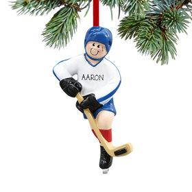 Personalized Hockey Player Scoring A Goal Christmas Ornament