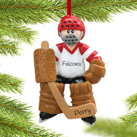 Personalized Hockey Goalie in Full Equipment Christmas Ornament
