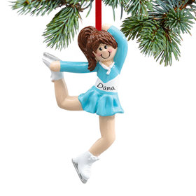Personalized Ice Skater in Jump Pose Christmas Ornament