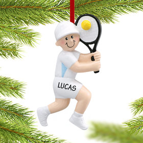 Personalized Tennis Boy Swinging a Backhand Christmas Ornament