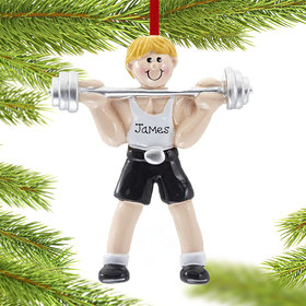 Personalized Weightlifter Male holding a Barbell Christmas Ornament
