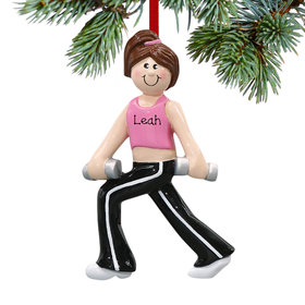 Personalized Weight Training Female Christmas Ornament