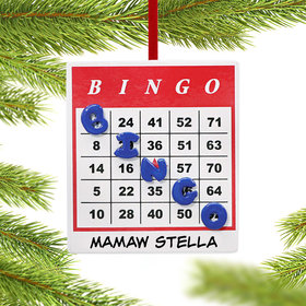Personalized Bingo Card with Winning Bingo Diagonal Line Christmas Ornament