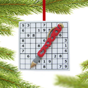 Personalized Sudoku Grid with Pen Christmas Ornament