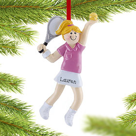 Personalized Tennis Girl Serving An Ace Christmas Ornament
