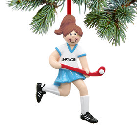 Personalized Field Hockey Girl Running on the Field Christmas Ornament